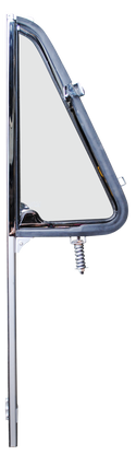 This passengers side premium all chrome framed with clear glass, vent window assembly, fits 1964-1966 Chevrolet and GMC Pickup Trucks