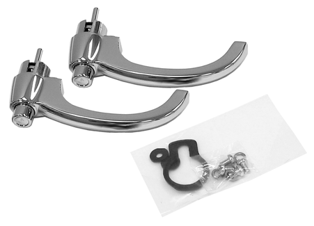 This exterior chrome door handle is sold in pairs only. This kit includes non-locking pushbuttons, gaskets and hardware for installation. It fits 1960-1966 Chevrolet and GMC Pickup Trucks.