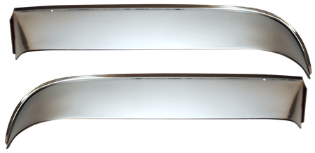 This stainless steel front window vent shade kit includes left and right shades, and all necessary installation hardware. It fits 1960-1963 Chevrolet Pickup Trucks.