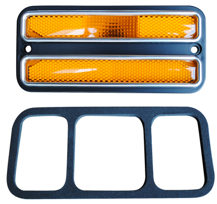 This deluxe sidemarker, amber lens and trim fits 1968-1972 Chevrolet and GMC Pickup Trucks, Suburbans, Blazers, and Jimmys