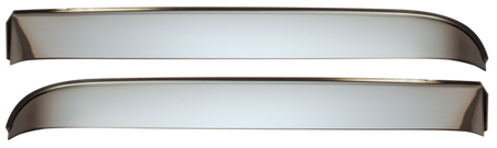 This stainless steel front window vent shade kit includes left and right shades, and all necessary installation hardware. It fits 1967-1972 Chevrolet and GMC Pickup Trucks