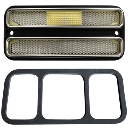 This deluxe sidemarker, clear lens and trim fits 1968-1972 Chevrolet and GMC Pickup Trucks,  1968-1972 Chevrolet and GMC Suburban, 1969-1972 Chevrolet Blazer, and 1969-1972 GMC Jimmy