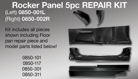 Rocker panel 5 piece repair kit, driver's side. Kit includes: cab floor front support, outer cab corner, full rocker panel, rocker panel backing plate and outer floor pan repair piece. It fits 1973-1987 Chevrolet and GMC pickup trucks, 1973-1991 Chevrolet Blazer, and 1973-1991 GMC Jimmy