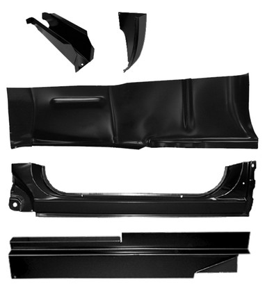 5 piece rocker panel repair kit, passenger's side. Kit includes: cab floor front support, outer cab corner, full rocker panel, rocker panel backing plate and outer floor pan repair piece. It fits 1973-1987 Chevrolet and GMC Pickup Trucks, 1973-1991 Chevrolet Blazer, and 1973-1991 GMC Jimmy