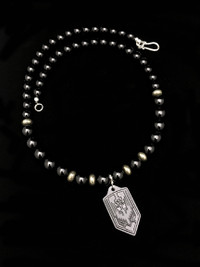 ST MICHAEL BLK ONYX/PYRITE/ BLACKED OUT COPPER PROTECTION NECKLACE