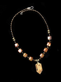 ST MICHAEL PIETERSITE/SMOKY QUARTZ/PYRITE FIRESCALE BRASS PENDANT  PROTECTION NECKLACE