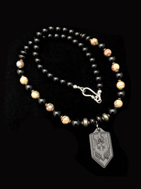 ST MICHAEL MOROCCAN AGATE/PYRITE/BLONYX BLKED OUT TITANIUM PENDANT PROTECTION NECKLACE