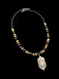 ST MICHAEL BLK ONYX/PYRITE/TIGER EYE/FIRESCALE BRASS PENDANT PROTECTION NECKLACE