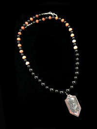 ST MICHAEL INDIAN CORN/SMOKY QUARTZ/FIRE SCALE COPPER PENDANT PROTECTION NECKLACE