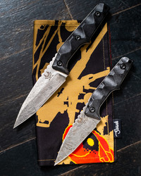 HUGINN MUNINN ACID ETCHED PAIR W/CHATTANOOGA LEATHER SCABBARDS