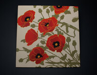 ALOHA POPPIES OF WAR ART FRAMED VIGNETTE 12X12