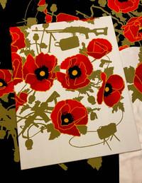 ALOHA POPPIES OF WAR ART FRAMED VIGNETTE 11X14