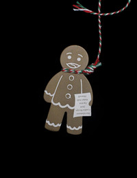 KITSCH ALUMINUM GINGERBREAD MAN ORNAMENT