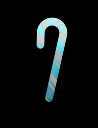 KITSCH TITANIUM BLUE CANDY CANE ORNAMENT
