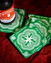 SHAMROCK  BEER COASTER/ BOTTLE OPENER