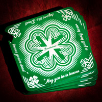 SET OF 4 SHAMROCK  BEER COASTER/ BOTTLE OPENER