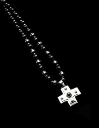 SILVER GREEK CROSS HEMATITE/PYRITE/BLK ONYX PROTECTION NECKLACE