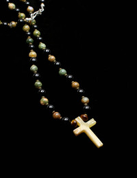 ONYX LATIN CROSS HEMATITE/PYRITE/PROTECTION NECKLACE