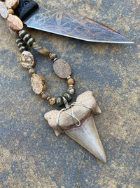 SHARK TOOTH  PICTURE JASPER/PYRITE/ NECKLACE
