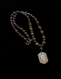 EIHWAZ VIKING RUNE BRONZITE/TIGERS EYE/PYRITE/ NECKLACE