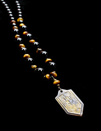 ARCHANGEL MICHAEL TIGER EYE/ BLK ONYX/ BRASS PROTECTION NECKLACE