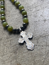 RUSSIAN SILVER CROSS JADE /PYRITE/ PROTECTION NECKLACE 521
