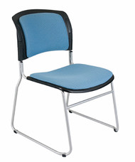 Contour Back Economy Sled Base Stacking Chair, Upholstered Padded Seat, Back, no arms