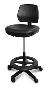Industrial Stool,Tilting Seat, Tilt Back, cushioned seat No Arms, 22-32