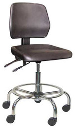 "Industrial Stool, Tilting Seat, Safety Step, 8"" Cylinder, Dual Soft Casters, 25""-33"", 250 lbs"