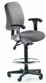 ESD High Back Drafting Chair, Lumbar, Seat Depth, 22-32, 300 lbs rated