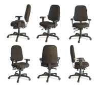 High Back ESD Chair, With Dial in lumbar, No Arms, ESD Fabric, Mid to Small Frame users