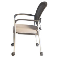 Mesh Back Chair w/Comfort Cushioned Seat, Arms, Silver base, Stacks 4, no dolly