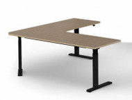Ergonomic Desk, 71 x 71 x 26 D, Crank Adjust Leg, 90 Trim Edge