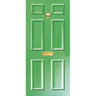 Door Vinyl Decal, Dementia Friendly with Letterbox & Knocker - Green