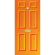 Door Vinyl Decal, Dementia Friendly with Letterbox & Knocker - Orange
