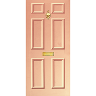 Door Vinyl Decal, Dementia Friendly with Letterbox & Knocker - Peach