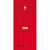 Door Vinyl Decal, Dementia Friendly with Letterbox & Knocker - Red