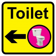 Toilet Sign with Left Arrow, Dementia Friendly - 30cm x 30cm
