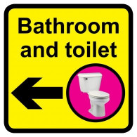 Bathroom & Toilet Sign with Left Arrow, Dementia Friendly - 30cm x 30cm