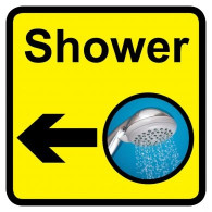 Shower Sign with Left Arrow, Dementia Friendly - 30cm x 30cm