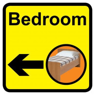 Bedroom Sign with Left Arrow, Dementia Friendly - 30cm x 30cm