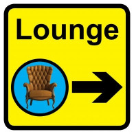 Lounge Sign with Right Arrow, Dementia Friendly - 30cm x 30cm
