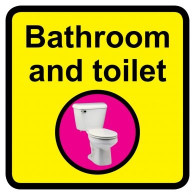 Bathroom & Toilet Sign, Dementia Friendly - 30cm x 30cm