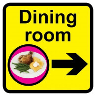 Dining Room Sign with Right Arrow, Dementia Friendly - 30cm x 30cm