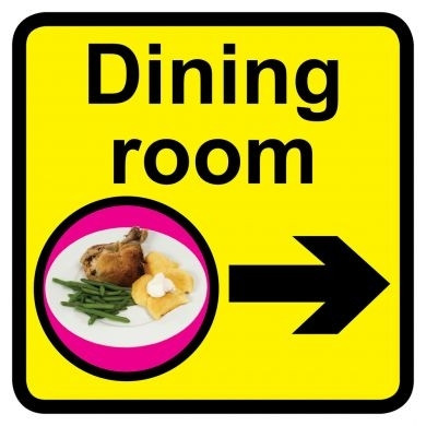 Dining Room Sign With Right Arrow Dementia Friendly