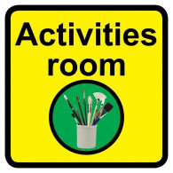 Activities Room Sign, Dementia Friendly - 30cm x 30cm