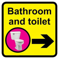 Bathroom & Toilet Sign with Right Arrow, Dementia Friendly - 30cm x 30cm