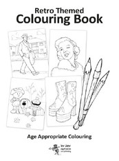 A4 Retro decades colouring book