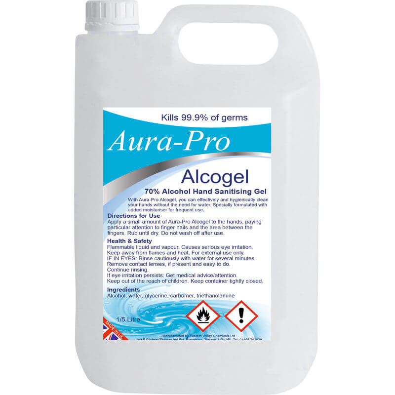 Aura-Pro 70% Alcogel Alcohol Gel 5lt (x1) - Dementiasigns.co.uk