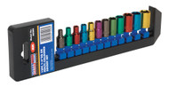 "Sealey AK282 Multi-Coloured Socket Set 12pc 1/4""Sq Drive 6pt WallDriveå¬ Metric"